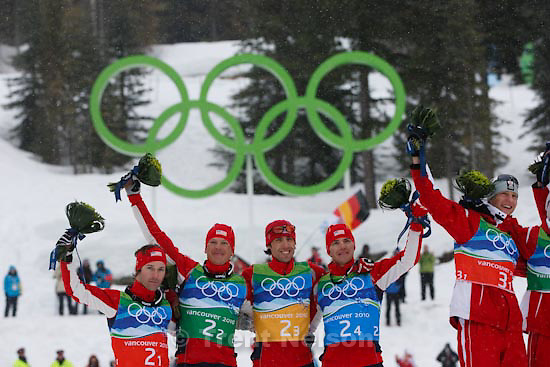 Trent Nelson  |  The Salt Lake Tribune.Team 4x5km Nordic Combined on the cross country track at the Whistler Olympic Park, XXI Olympic Winter Games in Whistler, Tuesday, February 23, 2010. US team is 2-1 Brett Camerota, 2-2 Todd Lodwick, 2-3 Johnny Spillane, 2-4 Bill Demong. Silver medal