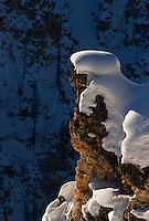 Snow-capped outcropping, Grand Canyon of the Yellowstone rim, Yellowstone National Park, Wyoming, United States of America