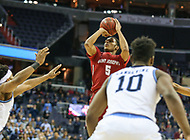 Washington, DC - March 10, 2018: Saint Joseph's Hawks guard Nick Robinson (5) takes a shot during the Atlantic 10 semi final game between Saint Joseph's and Rhode Island at  Capital One Arena in Washington, DC.   (Photo by Elliott Brown/Media Images International)