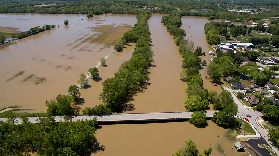 Flooding is pictured looking west along the White River near Cooper's Commons park in Spencer, Indiana on Sunday, May 7, 2017. The Old Ellettsville Road bridge is pictured at bottom. (Photo by James Brosher)