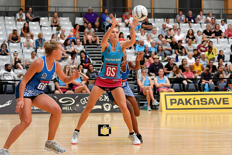 Steel Lenize Potgieter in action during the Netball Pre Season Tournament - Mystics v Steel at Ngā Purapura, Otaki, New Zealand on Saturday 9 February  2019. <br /> Photo by Masanori Udagawa. <br /> www.photowellington.photoshelter.com