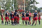 29 July 2006: U.S. head coach Greg Ryan (USA) (red polo) talks to the team. The United States Women's National Team trained at SAS Stadium in Cary, North Carolina, in preparation for an International Friendly match against Canada to be played on Sunday, July 30.