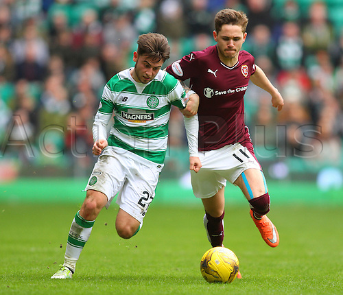 02.04.2016. Celtic Park, Glasgow, Scotland. Scottish Football Premiership Celtic versus Hearts. Patrick Roberts tussles with Sam Nicholson