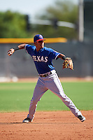 Texas Rangers Jonah McReynolds (43) during an Instructional League game against the Kansas City Royals on October 4, 2016 at the Surprise Stadium Complex in Surprise, Arizona.  (Mike Janes/Four Seam Images)