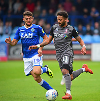 Lincoln City's Bruno Andrade is fouled by Macclesfield Town's James Pearson<br /> <br /> Photographer Andrew Vaughan/CameraSport<br /> <br /> The EFL Sky Bet League One - Macclesfield Town v Lincoln City - Saturday 15th September 2018 - Moss Rose - Macclesfield<br /> <br /> World Copyright &copy; 2018 CameraSport. All rights reserved. 43 Linden Ave. Countesthorpe. Leicester. England. LE8 5PG - Tel: +44 (0) 116 277 4147 - admin@camerasport.com - www.camerasport.com