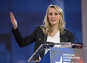 Marion Marchal-Le Pen,, granddaughter of National Front founder Jean-Marie Le Pen, and niece of FN leader Marine Le Pen, speaks at the Conservative Political Action Conference (CPAC) at the Gaylord National Resort and Convention Center in National Harbor, Maryland on Thursday, February 22, 2018.<br /> Credit: Ron Sachs / CNP