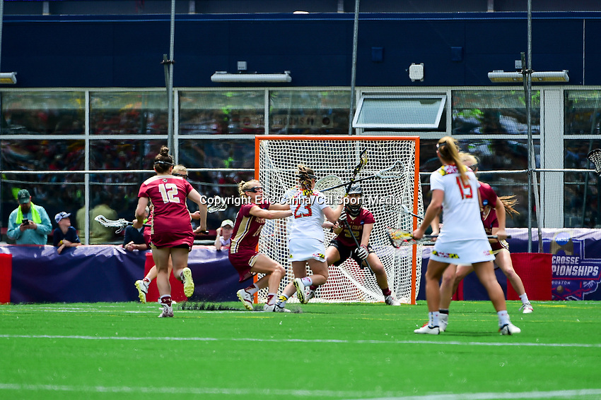 May 28, 2017: Maryland Terrapins Megan Whittle (23) attacks Boston College Eagles Zoe Ochoa (32) at the net during the NCAA Division I Women's Lacrosse Championship between the Boston College Eagles and Maryland Terrapins at Gillette Stadium, in Foxborough, MA, USA. The Maryland Terrapins defeat the BC Eagles 16-13. Eric Canha/CSM