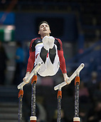 21st March 2018, Arena Birmingham, Birmingham, England; Gymnastics World Cup, day one, mens competition; Marcel Nguyen (GER) on the Parallel Bars warming up before the competition begins