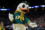 The Oregon Ducks mascot performs during the third-round game in the NCAA college basketball tournament against the Wisconsin Badgers Saturday, April 22, 2014 in Milwaukee. The Badgers won 85-77. (Photo by David Stluka)