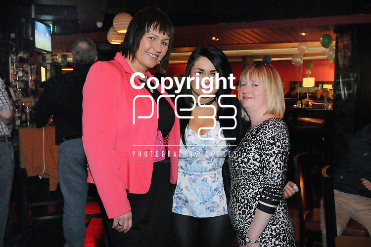 30/1/2015  Attending the 100 Miles Charity Race Night at Russells Bar, Raheen, were Sheila O' Donovan, Keira O' Grady and Tracy Miller, The Highway, Dooradoyle.<br /> Pic: Gareth Williams / Press 22