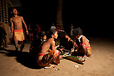PHILIPPINES, Palawan, Barangay region, Batak members of Kalakwasan Village perform a war dance called Sa'Ad