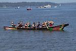 Canoe Journey, Paddle to Nisqually, 2016,  Oliver Canoe Family, Northwest tribal canoes arriving in Olympia, Washington, 7-30-2016, Salish Sea, Puget Sound, Washington State, USA,