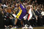 04/08/11--Trailblazers' Wesley Matthews is brushed back by Lakers' Kobe Bryant in the first half at the Rose Garden..Photo by Jaime Valdez........................................