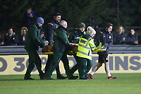 Kyle Howkins of Newport County is stretchered off the field during Maldon & Tiptree vs Newport County, Emirates FA Cup Football at the Wallace Binder Ground on 29th November 2019