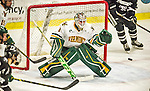 29 December 2014: University of Vermont Catamount Goaltender Mike Santaguida, a Sophomore from Mississauga, Ontario, makes a third period save against the Providence College Friars in the deciding game of the annual TD Bank-Sheraton Catamount Cup Tournament at Gutterson Fieldhouse in Burlington, Vermont. The Friars shut out the Catamounts 3-0 to win the 2014 Cup. Mandatory Credit: Ed Wolfstein Photo *** RAW (NEF) Image File Available ***