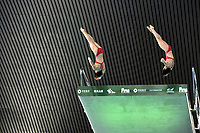 China's Yuxi Chen and Haoyan Yuan compete inn the Women's 10m Synchro Platform<br /> <br /> Photographer Hannah Fountain/CameraSport<br /> <br /> FINA/CNSG Diving World Series 2019 - Day 1 - Friday 17th May 2019 - London Aquatics Centre - Queen Elizabeth Olympic Park - London<br /> <br /> World Copyright © 2019 CameraSport. All rights reserved. 43 Linden Ave. Countesthorpe. Leicester. England. LE8 5PG - Tel: +44 (0) 116 277 4147 - admin@camerasport.com - www.camerasport.com