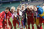 Olympique Lyonnais' Saki Kumagai, Amandine Henry, Camile Abily, Meline Gerard, Eugenie Le Sommer, Pauline Bremer and Lotta Schelin celebrate the victory in the UEFA Women's Champions League 2015/2016 Final match.May 26,2016. (ALTERPHOTOS/Acero)
