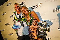 "GOLD COAST, Queensland/Australia (Thursday, February 24, 2011) Owen Wright (AUS) and Sally Fitzgibbons (AUS) -The ASP World Surfing Awards was held  tonight at the Gold Coast Convention and Exhibition Centre. .Surfing's ""night of nights"", the ASP World Surfing Awards, was a gala event, hosting the world's best surfers as well as distinguished figures from the surfing industry to honor of the 2010 ASP World Champions.. .Kelly Slater (USA), 39,  accepted his history-making and unprecedented tenth ASP World Title just a day before opening his 2011 ASP World Title campaign at the Quiksilver Pro Gold Coast.  .Stephanie Gilmore (AUS), 23,  made her own history ton the  evening, collecting her fourth consecutive Women's World Title. Gilmore will begin her 2011 assault this weekend at the opening event of the 2011 ASP Women's World Title season, the Roxy Pro Gold Coast.. .Slater and Gilmore headlined a slew of incredible athletes on the evening.. .Awards Recipient List:. .2010 ASP World Champion:Kelly Slater (USA).2010 ASP Women's World Champion:Stephanie Gilmore (AUS). .2010 ASP World Tour Runner-Up:Jordy Smith (ZAF).2010 ASP Women's World Tour Runner-Up:Sally Fitzgibbons (AUS). .2010 ASP World Tour Rookie of the Year: Owen Wright (AUS).2010 ASP Women's World Tour Rookie of the Year:Carissa Moore (HAW. .2010 ASP World Tour 'Breakthrough Performer':TBA.2010 ASP Women's World Tour 'Breakthrough Performer':TBA. .2010 ASP World Longboard Champion:Duane DeSoto (HAW).2010 ASP Women's World Longboard Champion:Cori Schumacher (HAW). .2010 ASP World Junior Champion:Jack Freestone (AUS).2010 ASP Women's World Junior Champion:Alizee Arnaud (FRA). .Photo: joliphotos.com"