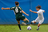 Florida International University Golden Panthers against Stetson at Miami, Florida on Sunday, September 23, 2007.  The Golden Panthers won, 2-1...FIU junior forward Maria Gualdron (Miami, Fla.) (3) drives battles Stetson junior defender Rachel Sweeney (8) for the ball in the first half.