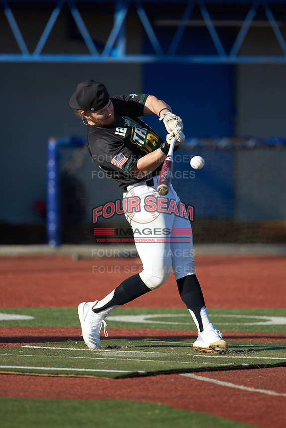 Paul Martin (12) (Mars Hill) of the Triad Tribe competes in the Old North State League All-Star Home Run Derby at Hooker Field on July 11, 2020 in Martinsville, VA.  (Brian Westerholt/Four Seam Images)
