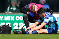 Injury concern for Luke O'Nien of Wycombe Wanderers during Yeovil Town vs Wycombe Wanderers, Sky Bet EFL League 2 Football at Huish Park on 14th April 2018
