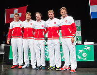 Switserland, Genève, September 17, 2015, Tennis,   Davis Cup, Switserland-Netherlands, Draw, Swiss team Ltr: Henri Laaksonen, Marco Chiudinelli, captain Severin Luthi, stan Wawrinka and Roger Federer<br /> Photo: Tennisimages/Henk Koster