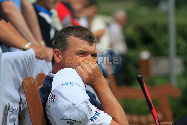 Paul Lawrie (SCO) takes a break on the practice range during Day 1 of the Volvo World Match Play Championship in Finca Cortesin, Casares, Spain, 19th May 2011. (Photo Eoin Clarke/Golffile 2011)