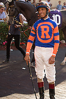 HALLANDALE BEACH, FL - FEBRUARY 04: John Velazquez waits for his mount. Scenes from Gulfstream Park,  at Gulfstream Park, Hallandale Beach, FL. (Photo by Arron Haggart/Eclipse Sportswire/Getty Images)