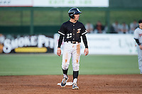 Daniel Mendick (22) of the Kannapolis Intimidators takes his lead off of second base against the Delmarva Shorebirds at Kannapolis Intimidators Stadium on April 23, 2016 in Kannapolis, North Carolina.  The Shorebirds defeated the Intimidators 4-2.  (Brian Westerholt/Four Seam Images)