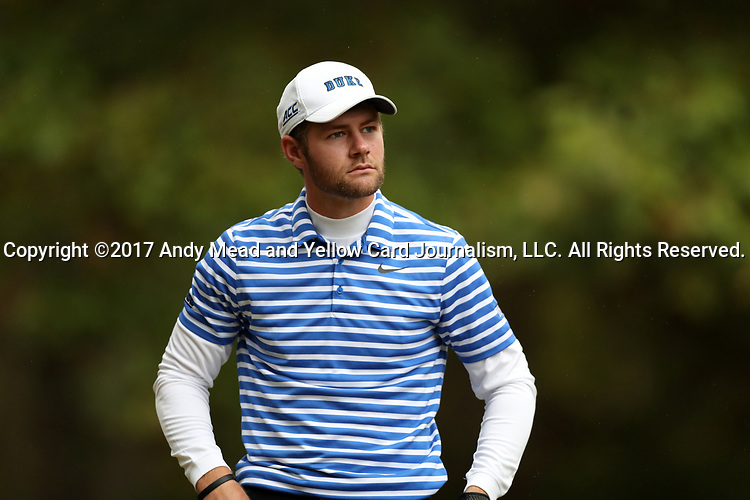 GREENSBORO, NC - OCTOBER 29: Duke's Adam Wood on the 4th tee. The third round of the UNCG/Grandover Collegiate Men's Golf Tournament was held on October 29, 2017, at the Grandover Resort East Course in Greensboro, NC.