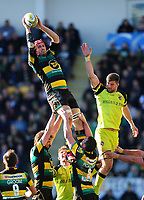 Christian Day of Northampton Saints wins the ball at a lineout. Aviva Premiership match, between Northampton Saints and Leicester Tigers on March 25, 2017 at Franklin's Gardens in Northampton, England. Photo by: Patrick Khachfe / JMP