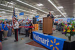 American Legion veterans present the colors inside the Walmart in Westerville, Ohio, before the store's grand opening.