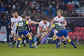 9th December 2017, AJ Bell Stadium, Salford, England; European Rugby Challenge Cup, Sale Sharks versus Cardiff Blues; Sale Sharks' Rohan Janse Van Rensburg about o be tackled by Cardiff Blues' Josh Turnbull