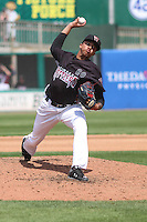 Wisconsin Timber Rattlers pitcher Devin Williams (20) delivers a pitch during a Midwest League game against the Kane County Cougars on May 16th, 2015 at Fox Cities Stadium in Appleton, Wisconsin.  Kane County defeated Wisconsin 4-2.  (Brad Krause/Four Seam Images)