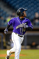Akron Aeros second baseman Jose Ramirez #10 during a game against the Trenton Thunder on April 22, 2013 at Canal Park in Akron, Ohio.  Trenton defeated Akron 13-8.  (Mike Janes/Four Seam Images)