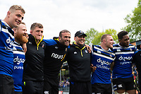 Bath Rugby players, coaches and staff huddle together after the match. Gallagher Premiership match, between Bath Rugby and Wasps on May 5, 2019 at the Recreation Ground in Bath, England. Photo by: Patrick Khachfe / Onside Images