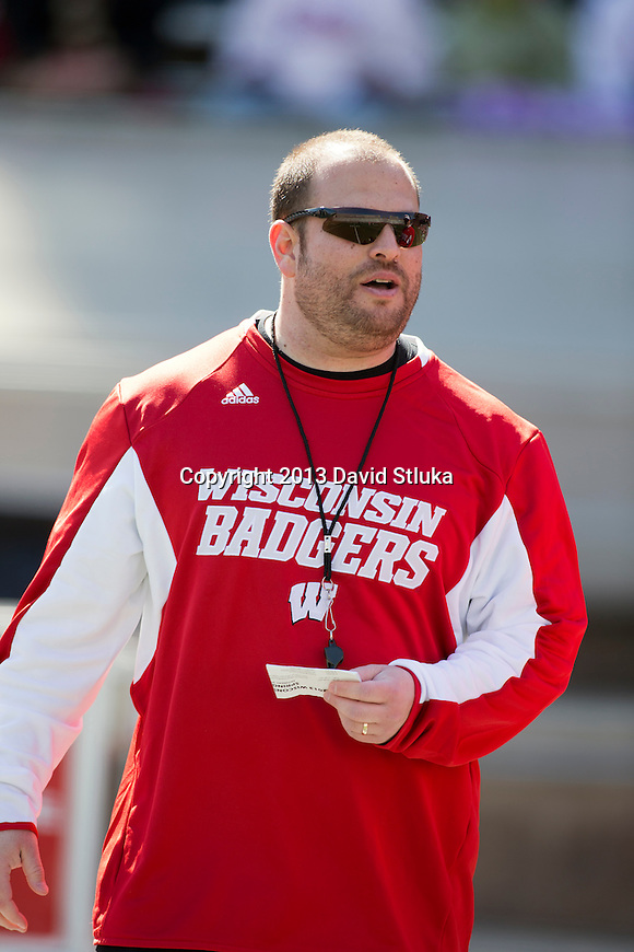 Wisconsin Badgers strength and conditioning coach Evan Simon looks on during warmups prior to the Spring Football Game on April 20, 2013. (Photo by David Stluka)
