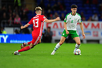 David Brooks of Wales vies for possession with Callum O'Dowda of Republic of Ireland during the UEFA Nations League B match between Wales and Ireland at Cardiff City Stadium in Cardiff, Wales, UK.September 6, 2018