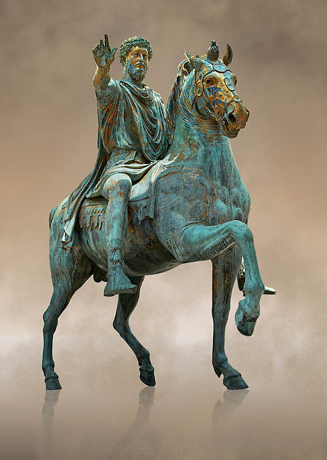 Original Roman bronze statue of Emperor Marcus Aurelius on horseback. 175 AD. Marcus Aurelius was the last of the Five Good Emperors, and is also considered one of the most important Stoic philosophers. In 1979 it was discovered that the the equestrian statue of Marcus Aurelius, in the courtyard of the Capitline Museum, had suffered badly from corrosion, particularly in its legs. The staue was removed from Michael Angelo's plinth and was transferred to the National Instution for the Restoration of works of art for preservation. On the 11th of April 1990 the restored statue was returned to the Cpitaline courtyard and covered with a glass protective casing. The glass box ruined the design of Michael Angelo's courtyard and it was decided to make a copy to display in the courted and move the original into the Capitoiline Musuem. This is a rare example of a bronze equestrian statue as it became common practice for the Romans in the late empire to melt down bronze statues to mint coins. The Capitoline Museums, Rome