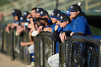 The Barton Bulldogs bench watches the action from the dugout during the game against the Queens Royals at Intimidators Stadium on March 19, 2019 in Kannapolis, North Carolina. The Royals defeated the Bulldogs 6-5. (Brian Westerholt/Four Seam Images)