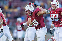 STANFORD, CA - SEPTEMBER 22, 2013: Ben Gardner celebrates with teammates during Stanford's game against Arizona State. The Cardinal defeated the Sun Devils 42-28.