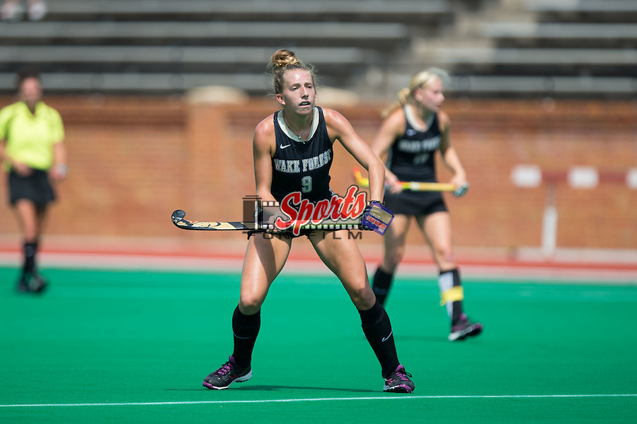 Emily Adamson (9) of the Wake Forest Demon Deacons during first half action against the Liberty Flames at Kentner Stadium on September 20, 2015 in Winston-Salem, North Carolina.  The Demon Deacons defeated the Flames 2-1.  (Brian Westerholt/Sports On Film)