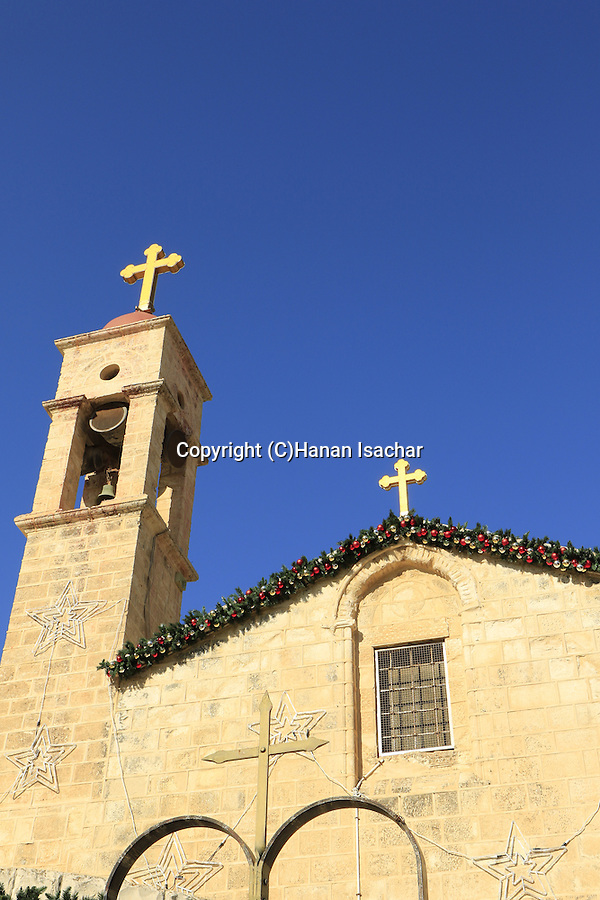 Israel, Nazareth, the Greek Orthodox Church of the Annunciation, the Church of St. Gabriel with Christmas decorations