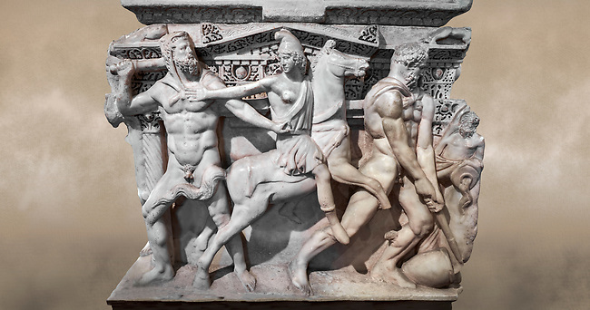 """Close up of a end of a Roman relief sculpted Hercules sarcophagus with kline couch lid, """"Columned Sarcophagi of Asia Minor"""" style typical of Sidamara, 250-260 AD, Konya Archaeological Museum, Turkey. Against a warm art background."""