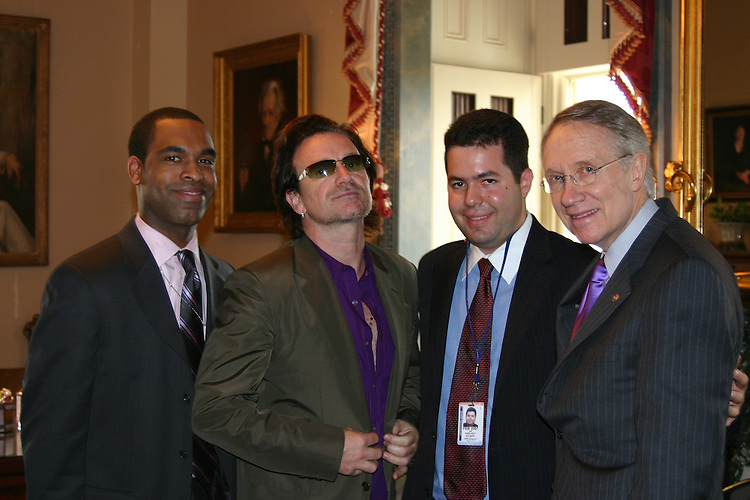 "Sen Reid met with U2's Bono yesterday in his office.  Check out the pix.Also in the pix are Leadership Aide Waldo McMillan and our OnlineCommunications Director Ari Rabin-Havt.  Hank & Bono, perfect together.  Who'd have thunk it.  Also, here's a.funny quip from the mtg:  Reid told Bono not to let the White House was use him.  Bono replied ""Well, I'm not a cheap date.""  I think it's a great little RC piece, especially the pix.  Anyone agree?  ."