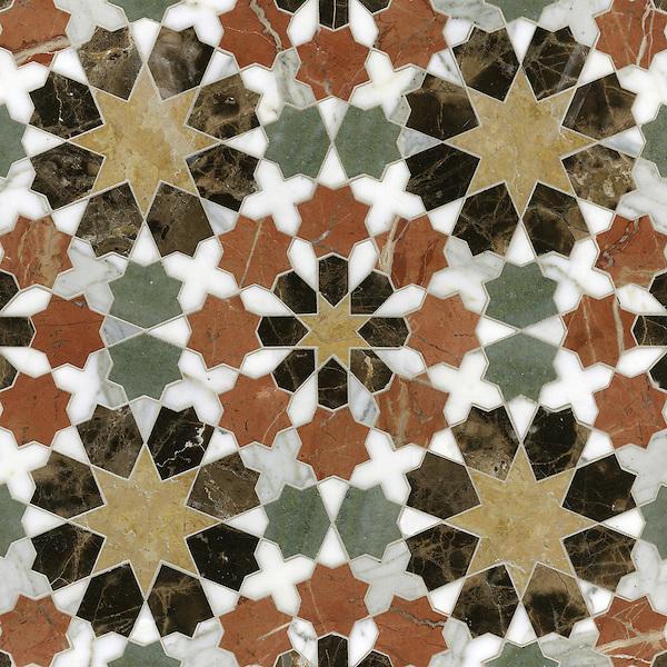 Granada Grande, a waterjet mosaic shown in polished Emperador Dark, Verde Luna, Rosa Verona, Calacatta Tia, and Giallo Reale, is part of the Miraflores collection by Paul Schatz for New Ravenna.
