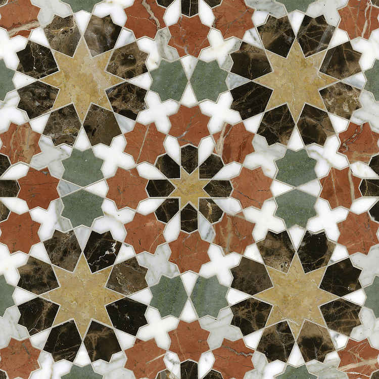 Granada Grande, a waterjet mosaic shown in polished Emperador Dark, Verde Luna, Rosa Verona, Calacatta Tia, and Giallo Reale, is part of the Miraflores collection by Paul Schatz for New Ravenna.
