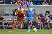 Bridgeview, IL - Saturday July 23, 2016:  Chicago Red Stars forward Sofia Huerta (11) and Houston Dash defender Stephanie Ochs (22) during a regular season National Women's Soccer League (NWSL) match between the Chicago Red Stars and the Houston Dash at Toyota Park.