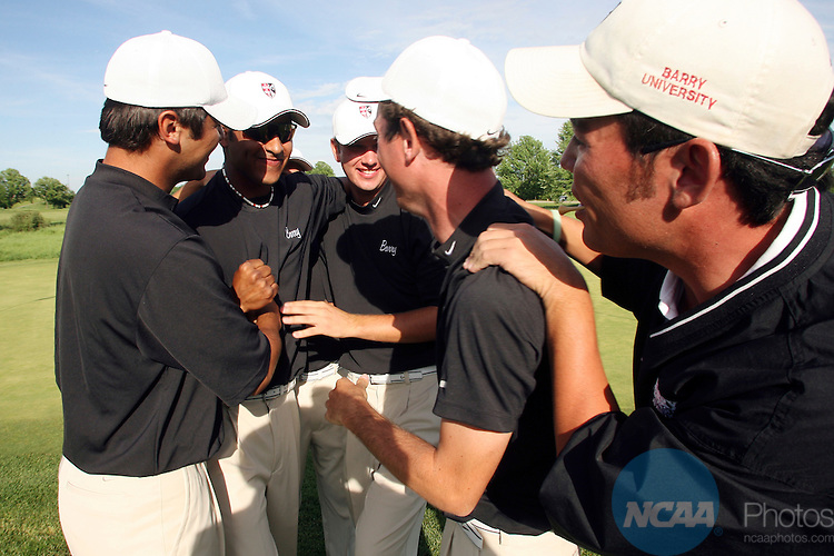 2007 May 25:  Members of the Barry University golf team celebrate their victory during the Division II Men's Golf Championship held at The Meadows in Allendale, MI.  Barry won the national title over South Carolina Upstate by one stroke.  John Lacko/NCAA Photos