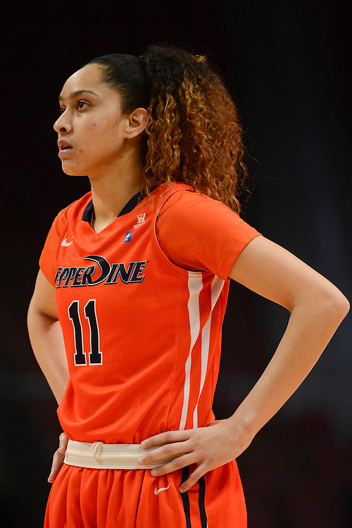 March 6, 2014; Las Vegas, NV, USA; Pepperdine Waves guard Ea Shoushtari (11) looks on against the Santa Clara Broncos during the first half of the WCC Basketball Championships at Orleans Arena. The Waves defeated the Broncos 80-74.